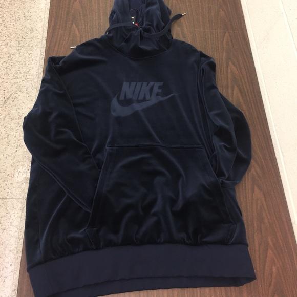 26ea80d155667f Blue Velour Nike Air Jordan Hoodie Sweatshirt